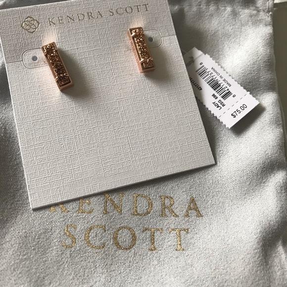 New Kendra Scott Lady Rose Gold Stud Earrings In Rose Gold Drusy
